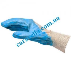 Перчатки с нитриловым покрытием синие, размер 9